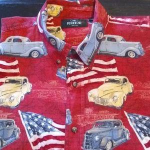 MEN'S VINTAGE CARS/AMERICAN FLAGS SHIRT